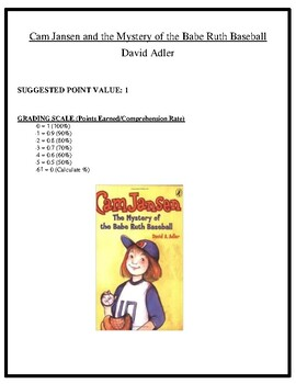 Comprehension Test - Cam Jansen & the Mystery of the Babe Ruth Baseball (Adler)