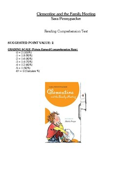 Comprehension Test - Clementine and the Family Meeting (Pennypacker)