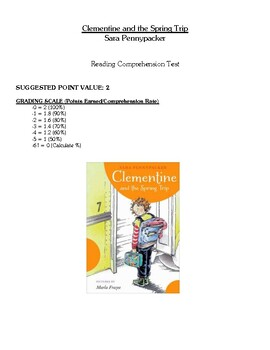 Comprehension Test - Clementine and the Spring Trip (Pennypacker)