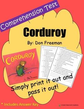 Comprehension Test: Corduroy