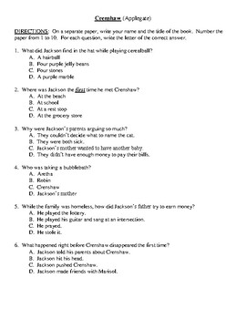 Comprehension Test - Crenshaw (Applegate)