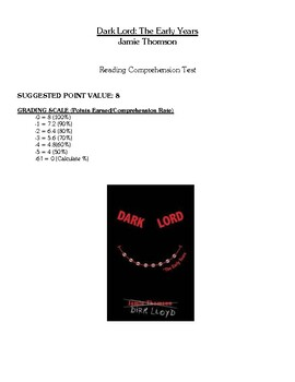 Comprehension Test - Dark Lord: The Early Years (Thomson)