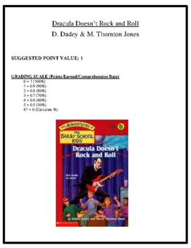 Comprehension Test - Dracula Doesn't Rock and Roll (Dadey & Thornton Jones)