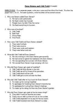 Comprehension Test - Even Steven and Odd Todd (Cristaldi)