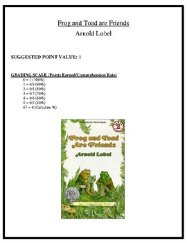 Comprehension Test - Frog and Toad are Friends (Lobel)