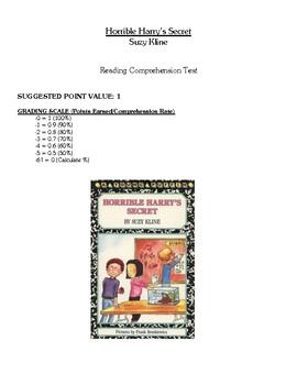 Comprehension Test - Horrible Harry's Secret (Kline)