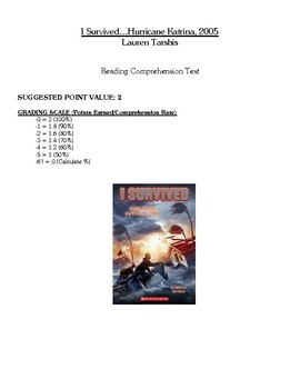 Comprehension Test - I Survived Hurricane Katrina, 2005 (Tarshis)