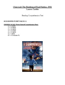 Comprehension Test - I Survived The Bombing of Pearl Harbor, 1941 (Tarshis)