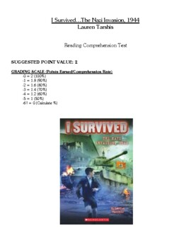 Comprehension Test - I Survived the Nazi Invasion, 1944 (Tarshis)