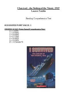 Comprehension Test - I Survived the Sinking of the Titanic, 1912 (Tarshis)