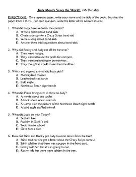 Comprehension Test - Judy Moody Saves the World! (McDonald)