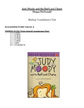 Comprehension Test - Judy Moody and the Bad Luck Charm (McDonald)
