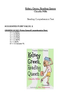 Comprehension Test - Kelsey Green, Reading Queen (Mills)