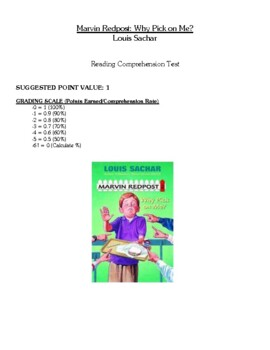 Comprehension Test - Marvin Redpost: Why Pick on Me? (Sachar)