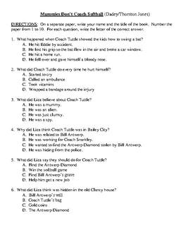 Comprehension Test - Mummies Don't Coach Softball (Dadey/Thornton Jones)