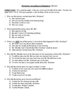 Comprehension Test - Mysteries According to Humphrey (Birney)