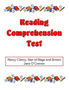 Comprehension Test - Nancy Clancy, Star of Stage and Screen (O'Connor)