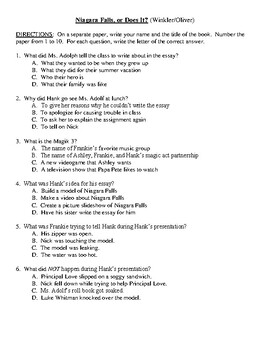 Comprehension Test - Niagara Falls, or Does It? (Winker/Oliver)