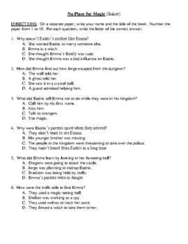 Comprehension Test - No Place for Magic (Baker)