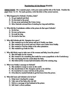 Comprehension Test - Numbering All the Bones (Rinaldi)
