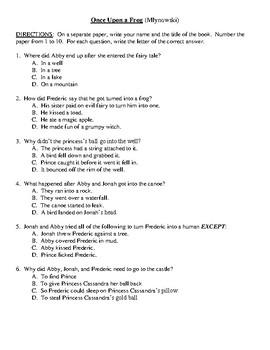 Comprehension Test - Once Upon a Frog (Mlynowski)