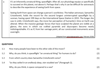 Comprehension Test: Out of this world (ESL Grade 7-9)