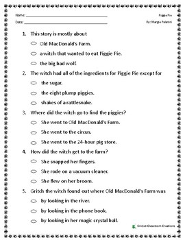 Comprehension Test: Piggie Pie - First or Second Grade