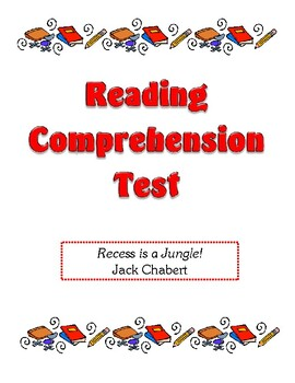 Comprehension Test - Recess is a Jungle! (Chabert)