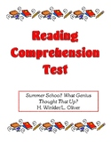Comprehension Test - Summer School! What Genius Thought That Up? (Winkler)