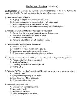 Comprehension Test - The Dragonet Prophecy (Sutherland)