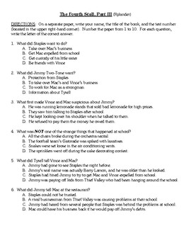 Comprehension Test - The Fourth Stall, Part III (Rylander)