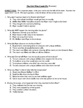 Comprehension Test - The Girl Who Could Fly (Forester)