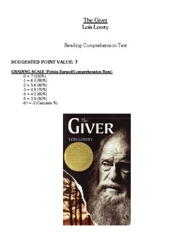 Comprehension Test - The Giver (Lowry)