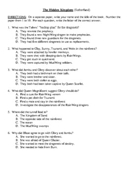Comprehension Test - The Hidden Kingdom (Sutherland)