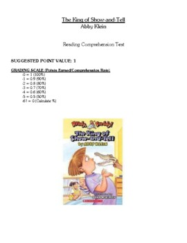 Comprehension Test - The King of Show and Tell (Klein)