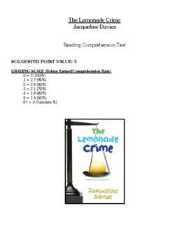 Comprehension Test - The Lemonade Crime (Davies)