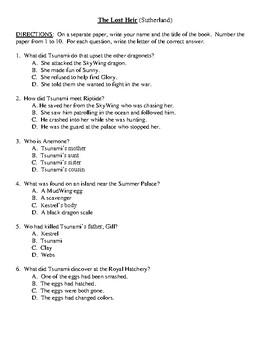 Comprehension Test - The Lost Heir (Sutherland)