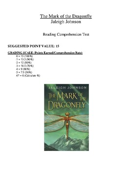 Comprehension Test - The Mark of the Dragonfly (Johnson)