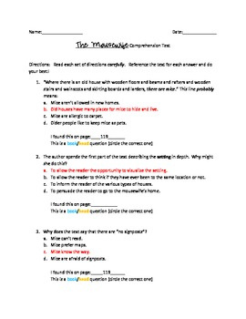 Comprehension Test:  The Mousewife