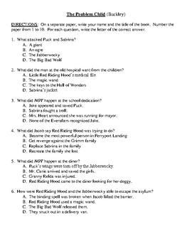 Comprehension Test - The Problem Child (Buckley)