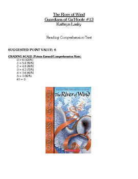 Comprehension Test - The River of Wind, Guardians of Ga'Hoole (Lasky)