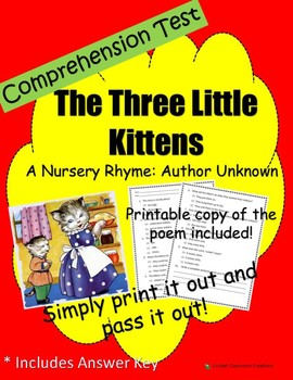 Comprehension Test: The Three Little Kittens - First or Se