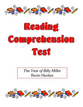 Comprehension Test - The Year of Billy Miller (Henkes)