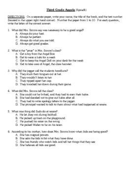 Comprehension Test - Third Grade Angels (Spinelli)