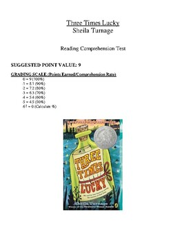 Comprehension Test - Three Times Lucky (Turnage)