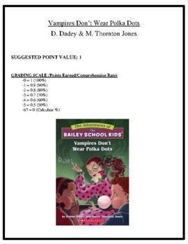 Comprehension Test - Vampires Don't Wear Polka Dots (Dadey/Jones)