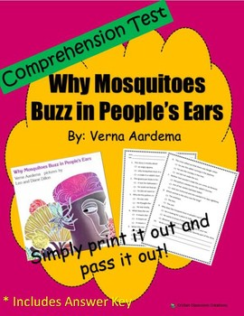 Comprehension Test: Why Mosquitoes Buzz in People's Ears - First or Second Grade