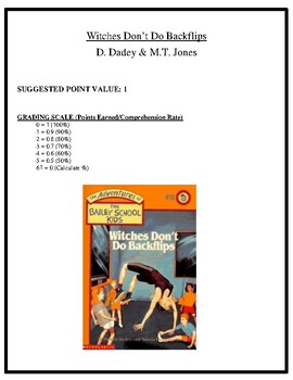 Comprehension Test - Witches Don't Do Backflips (Dadey and Jones)