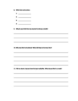 Comprehension Test for Corduroy