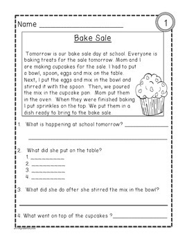 Comprehension Texts for First Grade- February